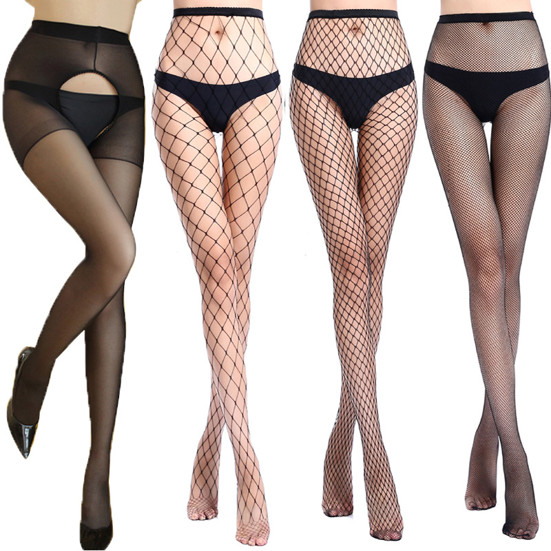 Women Stockings Sexy Open Crotch Stockings Female Erotic Sexy Lingerie Tights Hollow Out Mesh Black Fishnet Stockings Pantyhose