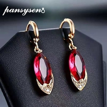 PANSYSEN Top Qualiry Sparking Ruby Gemstone Dangle Drop Earrings For Women 925 Sterling Silver Female Party Jewlery Earring Gift