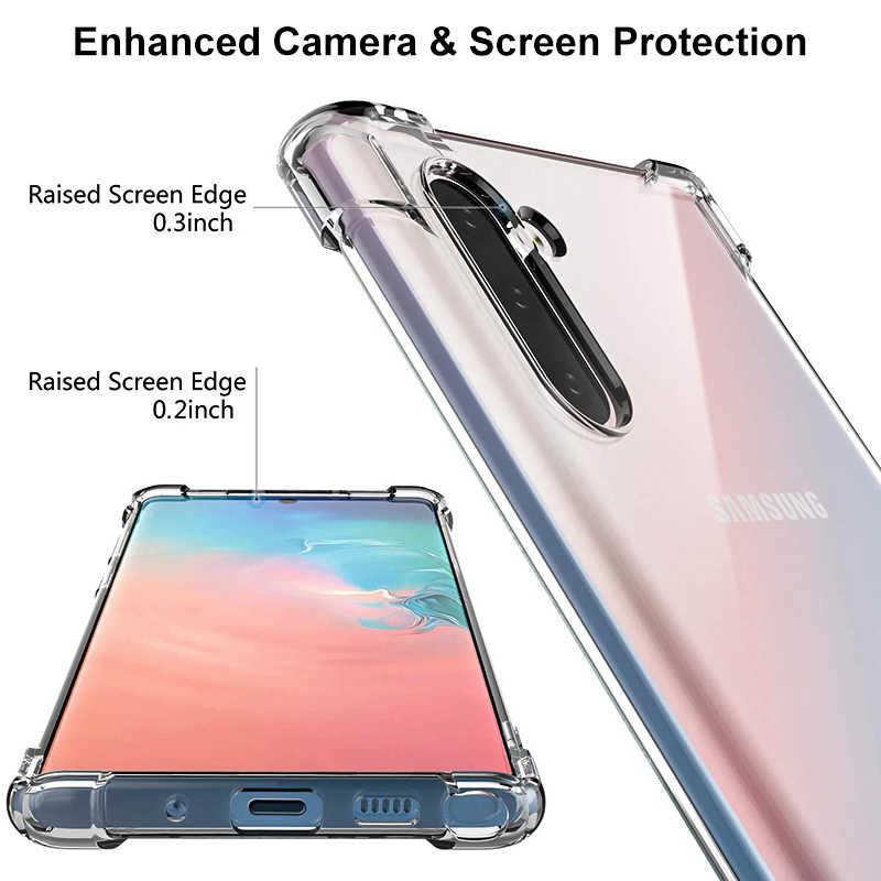 Противоударный силиконовый чехол для samsung Примечание 10 Plus Note 9 8 S10 S9 S8 плюс S7edge A70 A60 A50 A40 A30 M30 прозрачный чехол из материала tpu