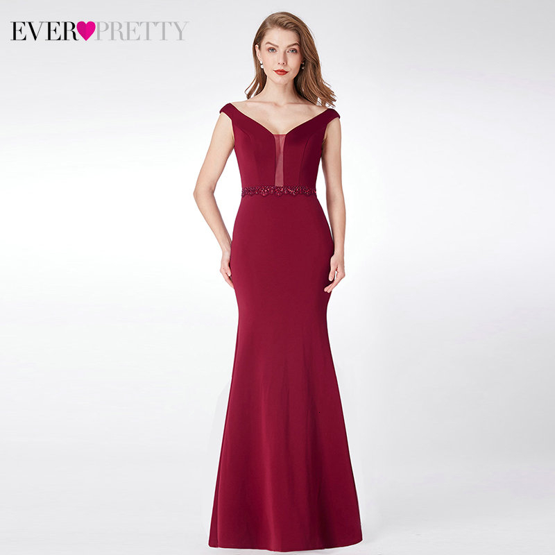 Vintage Burgundy Evening Dresses Long Ever Pretty Mermaid Double V-Neck Sleeveless Beaded Formal Party Gowns Vestido Longo Festa