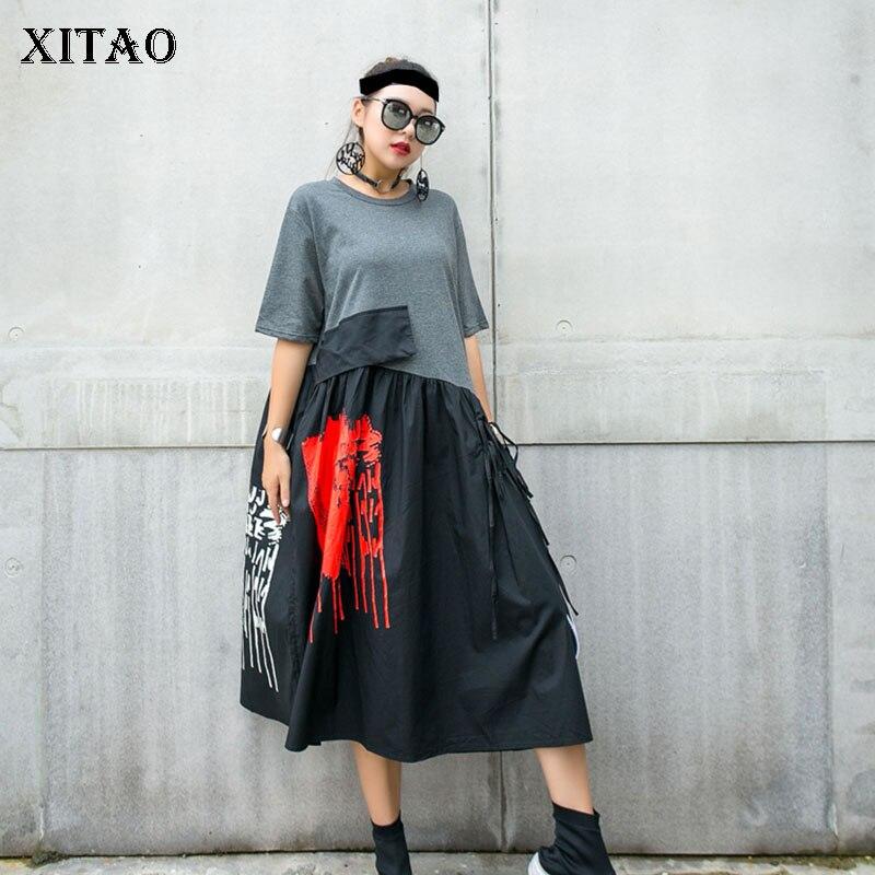 Xitao plus size vestido de moda nova cintura alta elegante 2020 verão pulôver retalhos hit cor deusa fã vestido casual gcc3514
