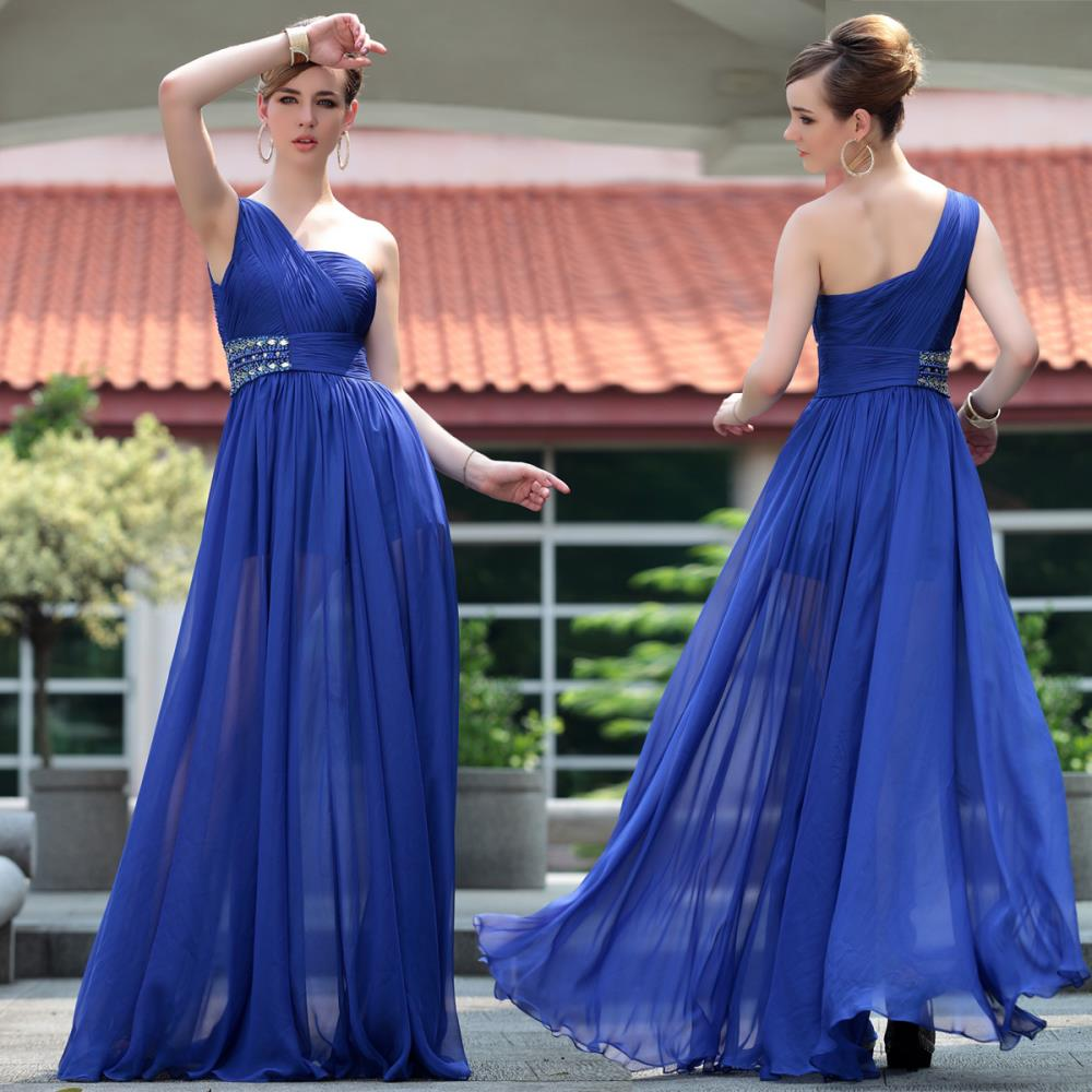 Free Shipping 2018 Blue One Shoulder Chiffon Long Design Clairvoyant Special Occasion Party Prom Gown Bridesmaid Dresses
