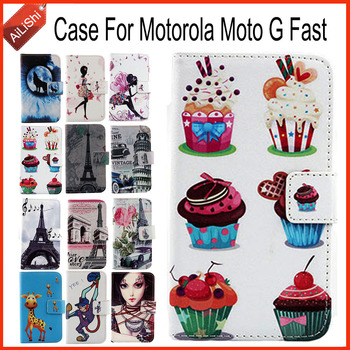 AiLiShi Case For Motorola Moto G Fast Luxury Flip PU Painted Leather Case 100% Special Phone Protective Cover Skin+Tracking