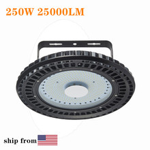 2pcs 250W 25000LM 110V UFO LED High Bay Lights 6500K Waterproof High Lumen Factory Lighting Industrial Warehouse High Bay Lamp цена