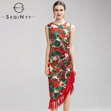 SEQINYY Đầm Vintage Mùa Hè 2020 Mùa Xuân Mới Thiết Kế Thời Trang Nữ Màu Đỏ Hoa Cẩm Tú Cầu Hoa In Hoạ Tiết Bất Đối Xứng Áo Đầm Ôm