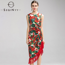 Seqinyyヴィンテージドレス2020夏春の新ファッションデザイン女性赤アジサイフラワープリントの房非対称ベストスリムドレス