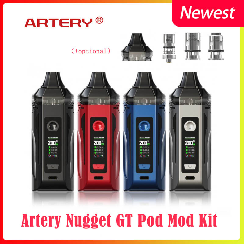 Newest Artery Nugget GT Dual 18650 Pod Mod 200W Kit With Optional 8ml Pod Capacity&coil E-Cigarette Vaporizer Vape Kit