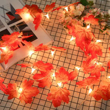 Maple Leaves LED String Light AA Battery Operated Autumn Stair Garden 20 LED Led Lights Christmas Tree Decoration Lighting(China)