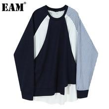 [EAM] luźne ciemnoniebieskie paski nieregularna bluza nowy wokół szyi z długim rękawem kobiety Big Size moda wiosna jesień 2021 1Z857