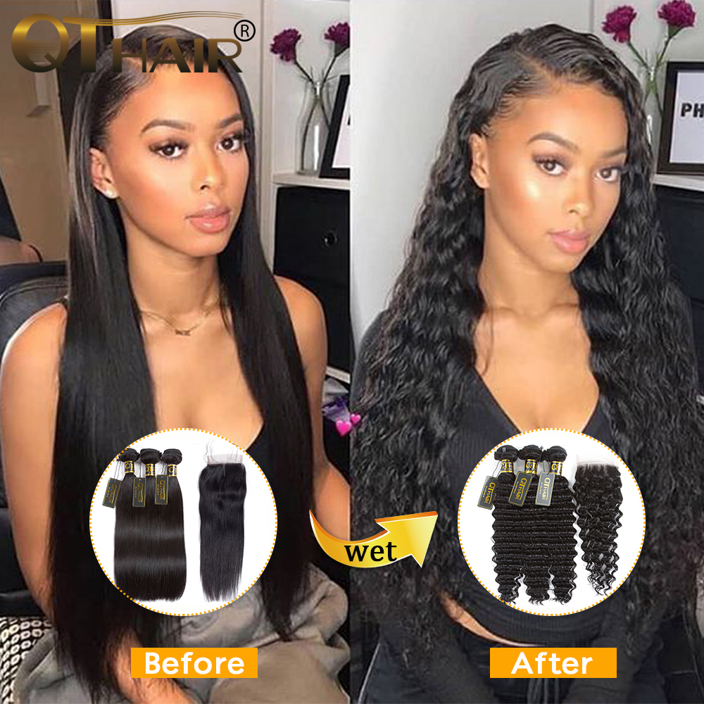 QT Hair Wet And Wavy Bundles With Closure Deep Wave Bundles With Closure Brazilian Human Hair Weave 3 Bundles With Closure
