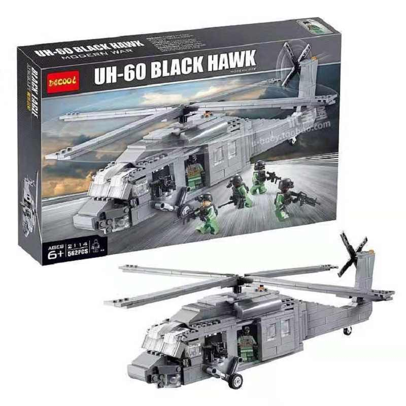 Decool 2114 562pcs aircraft model police warfare Black Hawk helicopter assembly blocks Moc brick US Army military Machine Force