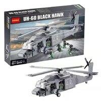 Decool 2114 562pcs aircraft model police warfare Black Hawk helicopter assembly blocks Moc brick US Army military Machine Force