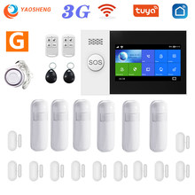 Yaosheng PG-107 3g gsm wi fi sistema de alarme tuya vida inteligente app sem fio 433mhz kit alarme segurança apoio alexa & google assistente