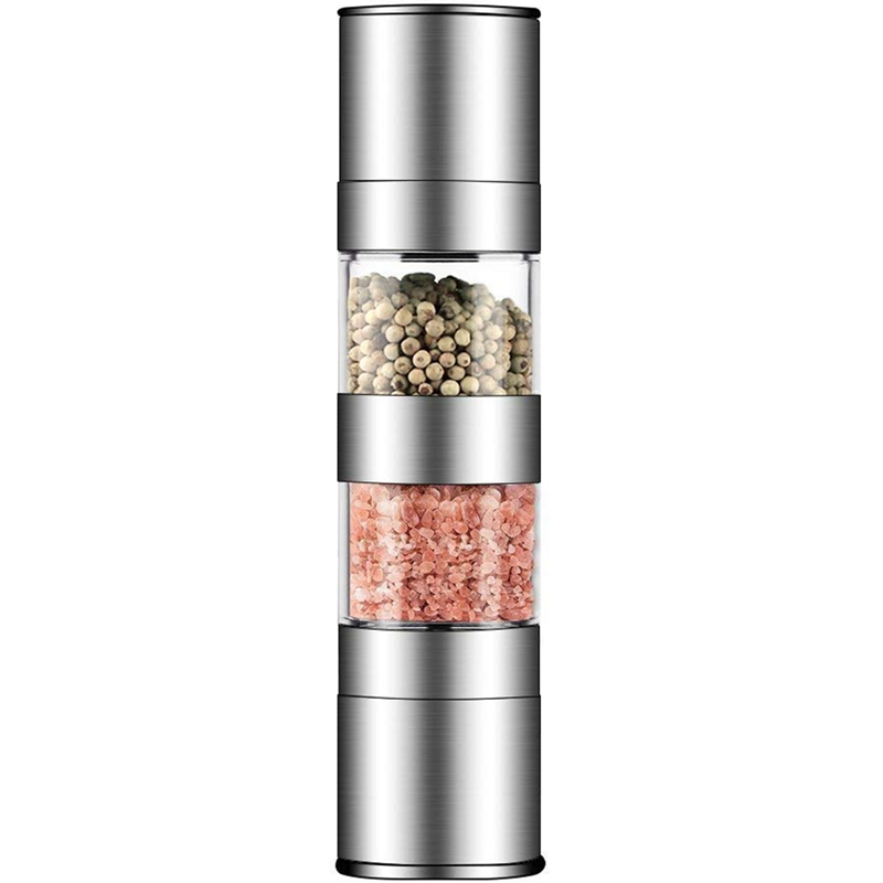 2 In 1 Salt And Pepper Grinder Set,Stainless Steel Salt Grinder With Adjustable Ceramic Rotor, Salt Mill And Pepper Mill Shaker,