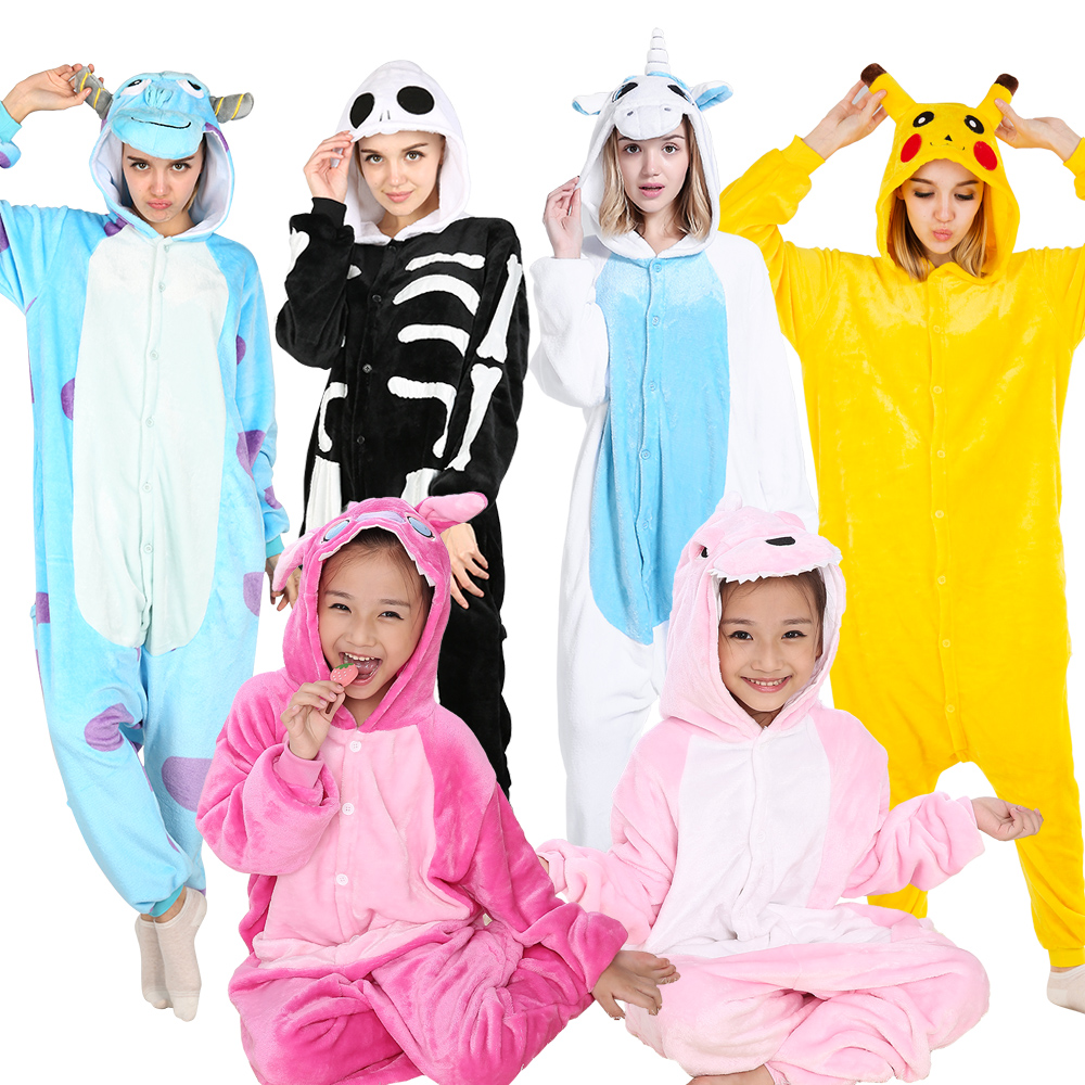 KIGUCOS All In One Animal Pajamas For Winter Women Pajamas Cartoon Onesies Children Dinosaur Costumes Sleepwear Unicorn Pyjamas