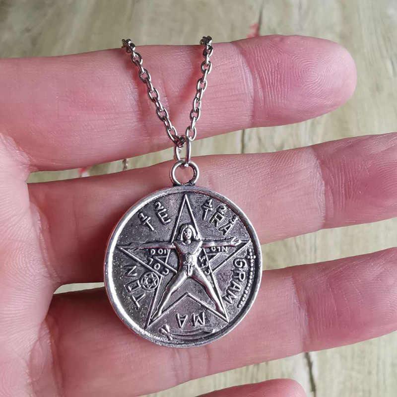 Tetragrammaton Pentagram Pentagram Hanger Zilveren Kleur Charms Ketting Wiccan Talisman Pagen Amulet Vrouwen Kettingen Sieraden