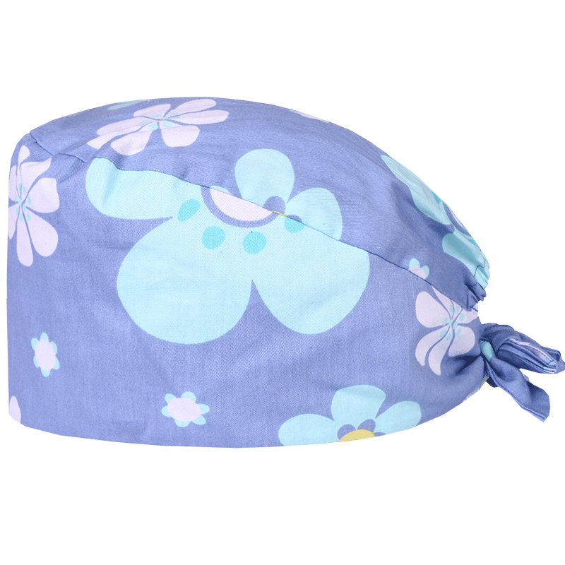 Flower Women Surgical Cap Medical Scrub Hat Nurse Doctor Veterinary Work Hat Chef Skull Hats 100% Cotton With Sweatband