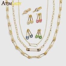 انخفاض الشحن الذهب شغل مايكرو تمهيد تشيكوسلوفاكيا دبوس أمان ربط سلسلة المختنق قلادة 32 + 8 سنتيمتر للنساء الفتيات فريد مجوهرات الأزياء