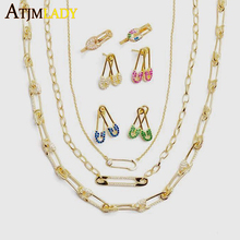 drop shipping Gold filled micro pave cz safety pin link chain choker necklace 32+8cm for women girls unique fashion jewelry