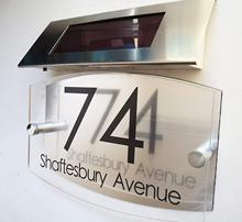 Personalised! Modern House Signs Plaques Door Numbers 1-9999 Solar Light Street Name LED