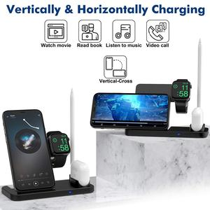 Image 2 - 15W Qi Fast Wireless Charger Stand For iPhone 12 11 XR XS 8 Apple Watch 4 in 1 Foldable Charging Station for Airpods Pro iWatch