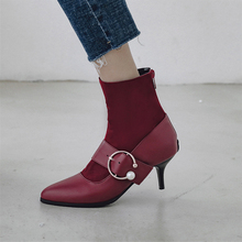 Plus Size 34-48 Winter Autumn Thin High Heels Shoes Elegant Stiletto Ladies Pumps Sock Boots Ankle Women Pointed Toe