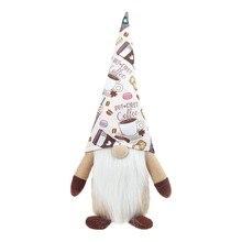 Koffie Gnome Plaid Zweedse Tomte Gnome Pluche Pop Koffie Bar Decoratie Gift Home Decor