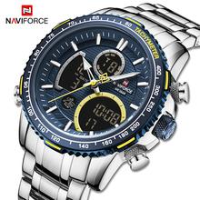 NAVIFORCE mężczyźni zegarek luksusowej marki styl sportowy zegarki męskie chronograf kwarcowy zegarek męski wodoodporny zegar Relogio Masculino tanie tanio 24inch Podwójny Wyświetlacz QUARTZ 3Bar Składane zapięcie z bezpieczeństwem STAINLESS STEEL 17mm Hardlex Kwarcowe Zegarki Na Rękę