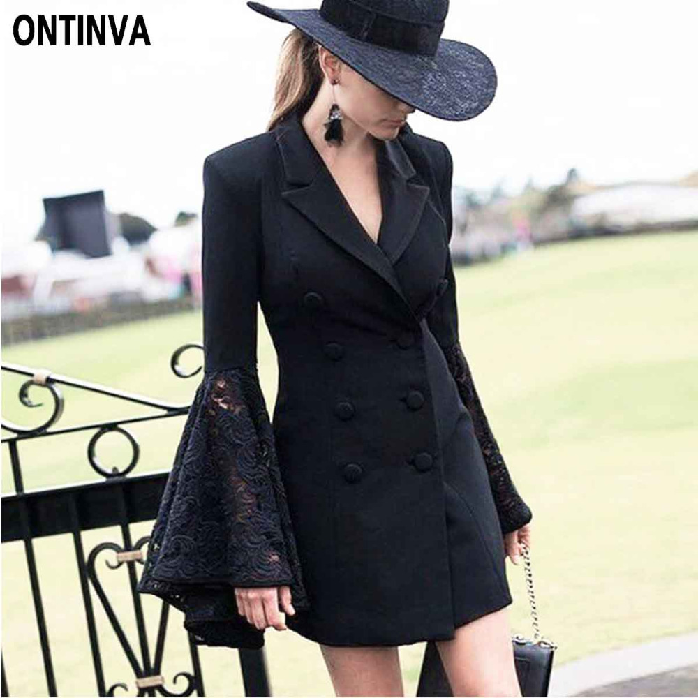 Office Ladies Work Wear Black Long Blazer With Lace Flare Sleeve Outwear White Slim Fit Elegant Double Button Blaser For Women