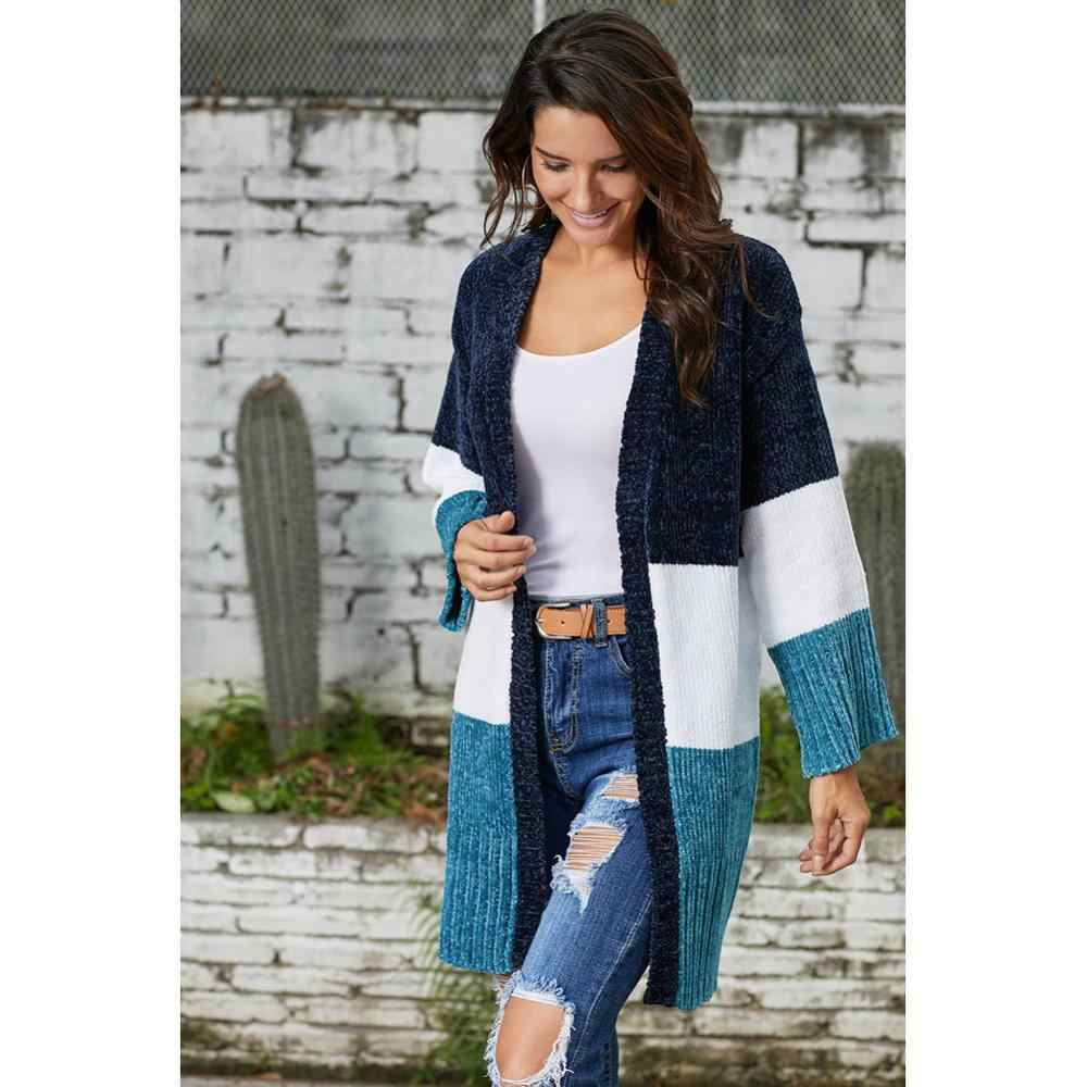 Lovelyfox hotsale lady New Long Sleeve tejido para mujeres en 2020 azul blanco Colorblock Velvet suéter de felpilla Cardigan