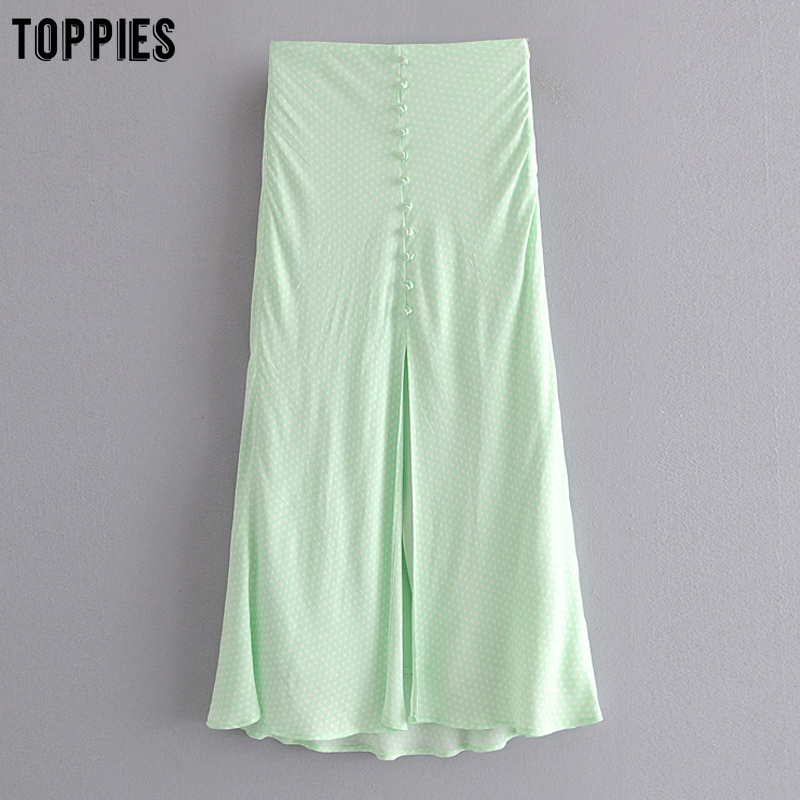Toppies Green Polka Dot Split Skirts Women Midi Skirts High Waist Slim Faldas 2020 Summer Fashion Streetwear