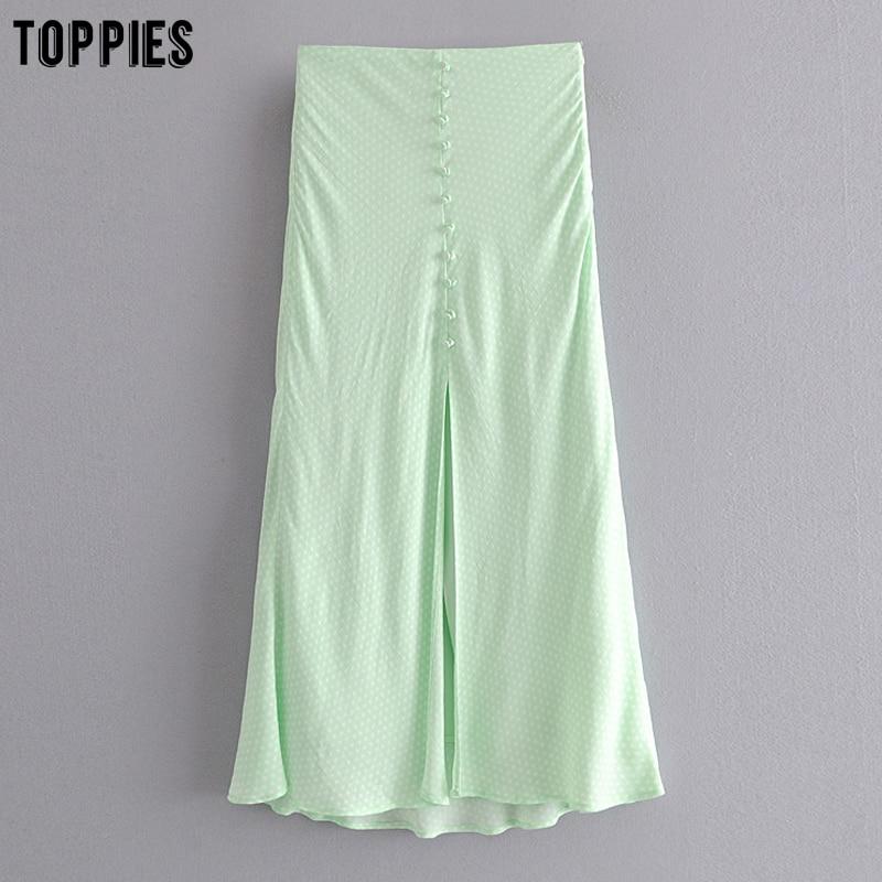 Toppies Green Polka Dot Split Skirts Women Midi Skirts High Waist Slim Faldas 2020 Summer Fashion Streetwear