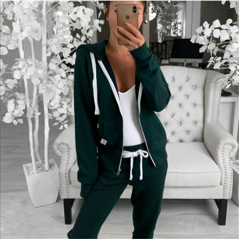 Women Tracksuit Warm Hooded Sweatshirt Long Sleeve Zipper Outwear Hoodie Plain Jacket Coat Tops Sweatpant Two Piece Set Women