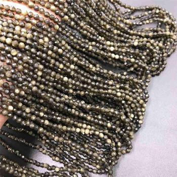 Naturalne złote koraliki z obsydianu 2 3mm mikro kamień koraliki sekcja luźne złote koraliki czarny obsydian spacer gem biżuteria z koralików dokonywanie prezenty