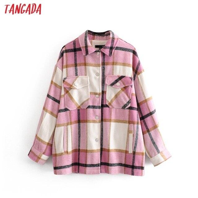 Tangada 2019 Winter Women green plaid Long Coat Jacket Casual High Quality Warm Overcoat Fashion Long Coats 3H04 6
