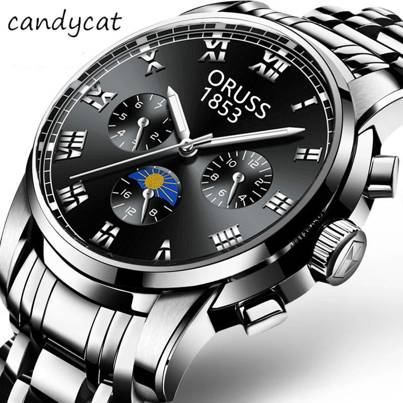 CandyCat Quartz Watch Men's Watch Solid Steel Waterproof Shuang Ri Li Business Mechanical Luminous Bracelet Retro  Casual Dress