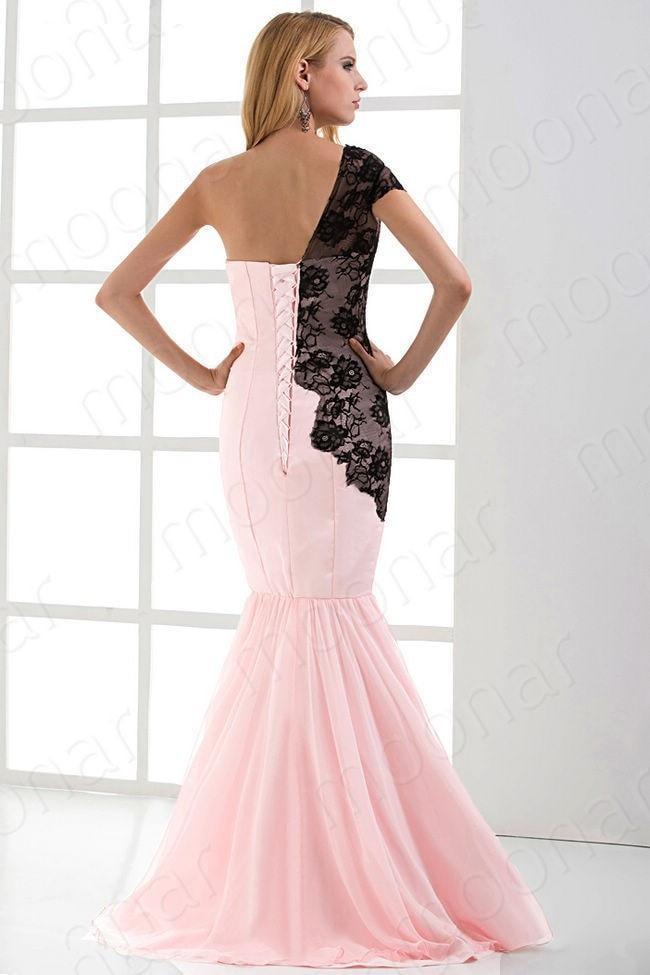 vestido de festa new design custommade celebrity Mermaid pink long evening dress 2015 one shoulder lace appliques Formal gown