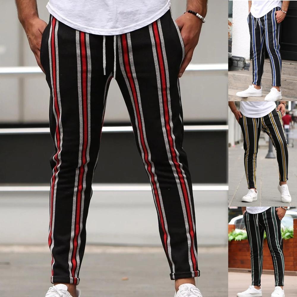 New Autumn/winter 2019 Hot Style Men's Multi-Colored Stripe Slim Casual Pants Versatile Fashion Joggers Sports Pants