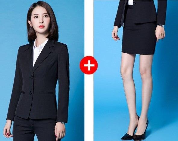 Office Ladies Work Suits Long Sleeve Tuxedo Jacket with Pant Black Blue Pant Suit Woman Two 2 Piece Blazer Sets Women Pantsuit