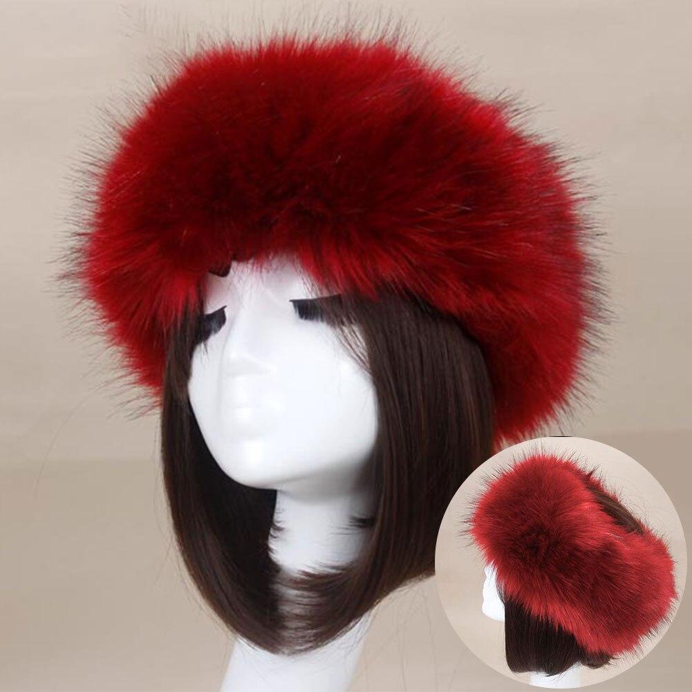 Winter Warm Thick Faux Fur Headband Hat Hair Accessories Furry Fluffy Fox Turban Earmuff Cap Girls Women Ear Warmer Hair Band