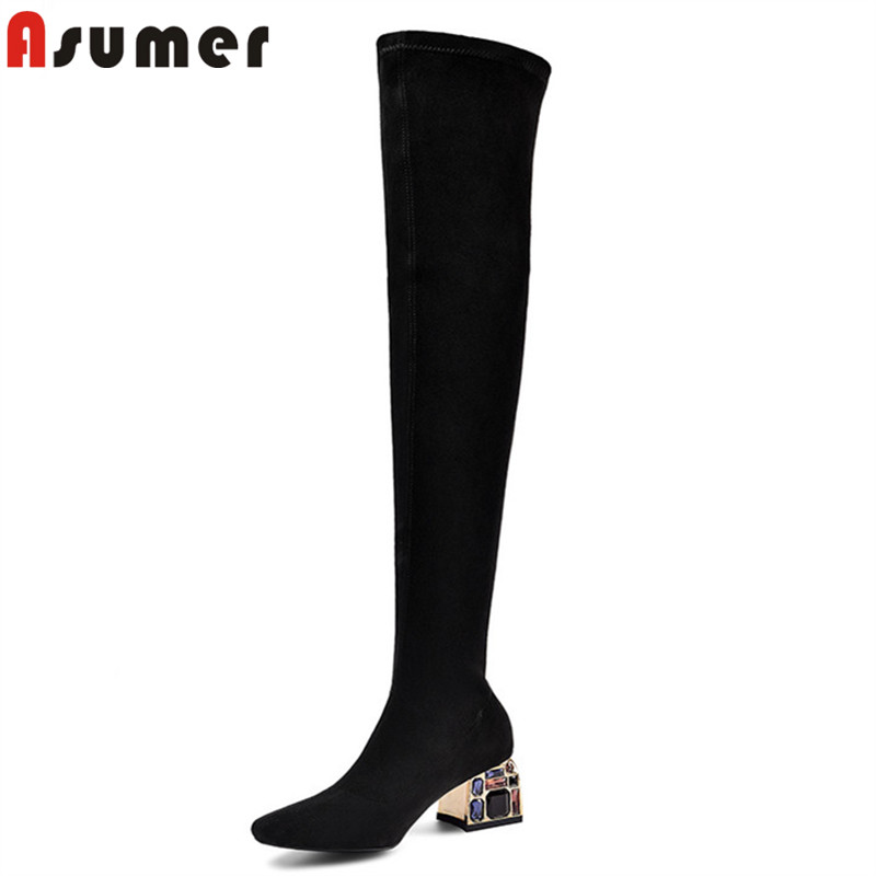 ASUMER 2020 Top Quality Stretch Boots Women Suede Leather Sexy Slim Crystal Heels Dress Party Shoes Women Over The Knee Boots