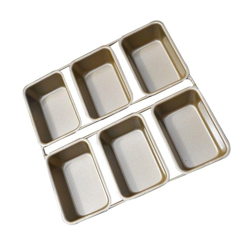 6 رغيف صغير عموم مستطيل لتقوم بها بنفسك قالب الكعكة غير عصا الكربون الصلب الخبز الخبز قالب طاسة للفطائر كب كيك صينية حفلة مطبخ خبز