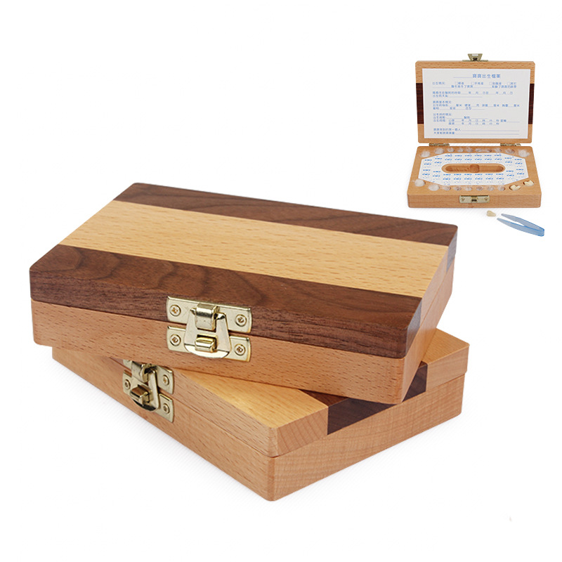 Children's wooden classic tooth box tooth collection commemorative box personality collection commemorative gift box