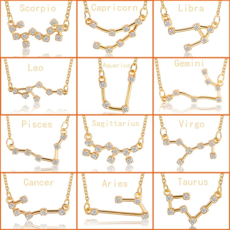 Todorova 12 Zodiac Signs Necklace Crystal Taurus Capricorn Scorpio Twelve Constellation Pendant Necklaces Women Wedding Jewelry