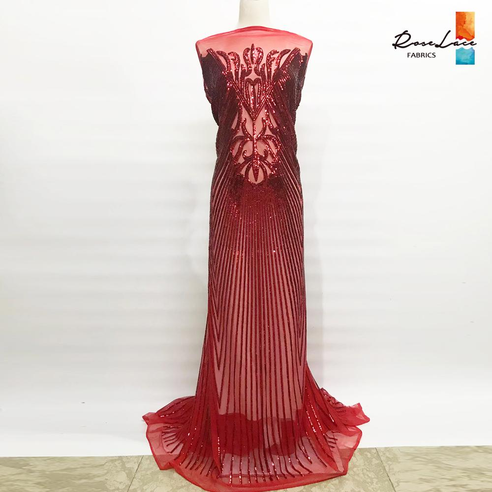 Rode Kleur Pailletten Mesh Netto Kant Stoffen Voor Indiase Nigeriaanse Noble Vrouwen Prom Avondjurk Materiaal Unieke Lovertjes Guipurekant-in Kant van Huis & Tuin op  Groep 1