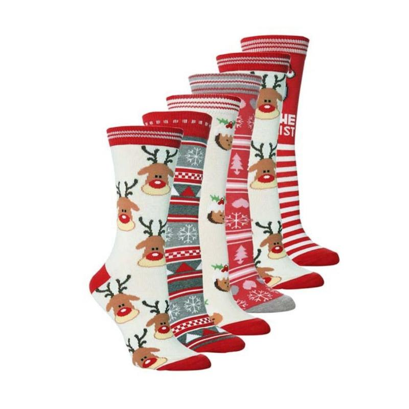 Lovely Christmas Socks Cute Snowflake Deer Plush Wool Winter Warm Socks Santa Claus Gift Xmas Festival Socks For Girl Women Men
