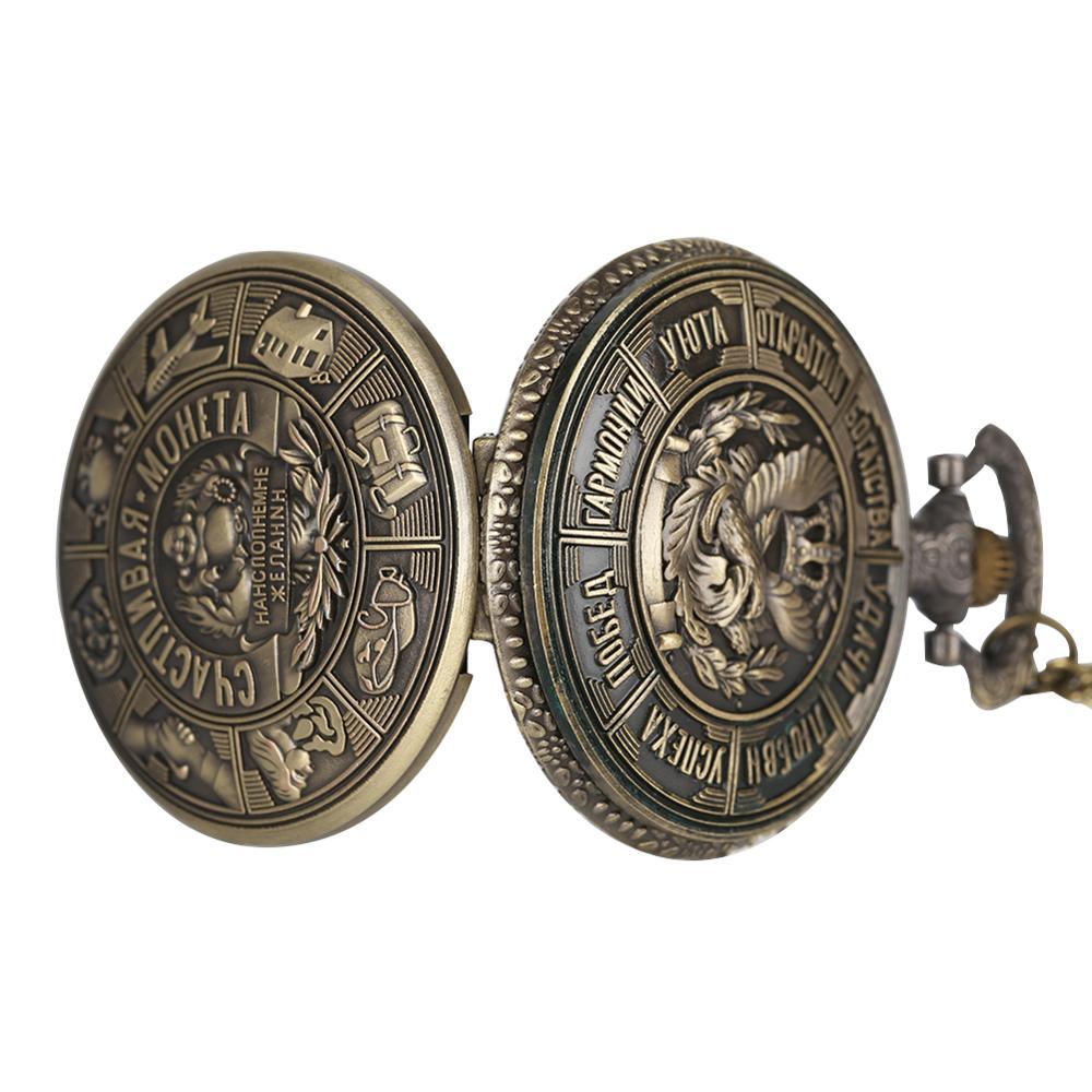 Купить с кэшбэком YISUYA Metal Coins Art Embossing Quartz Pocket Watch Russian Collectible Coins Pendant Watches Chain Gift reloj enfermera