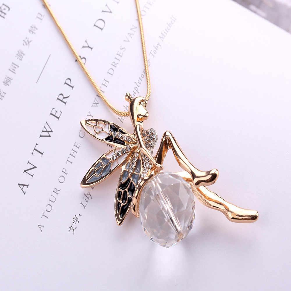 女性 accesorios mujer クール素敵な天使の羽の蝶クリスタルネックレスロングセーターのチェーンジュエリー collares デモーダ 2019