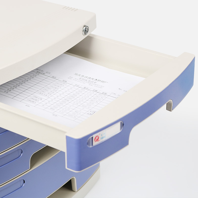 Office Desk Top Storage Cabinets Plastic Lock Drawer-type File Cabinet A4 Paper Folder Storage Layer Compartmental Finishing Box