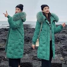 QIHUANG 2019 Winter Women Down Coat Jacket Warm Hooded Fur Collar Long For